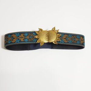 Shein Boho Embroidered Gold Statement Belt